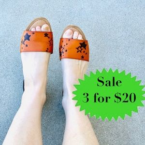Merona flats sandals star print black orange slide